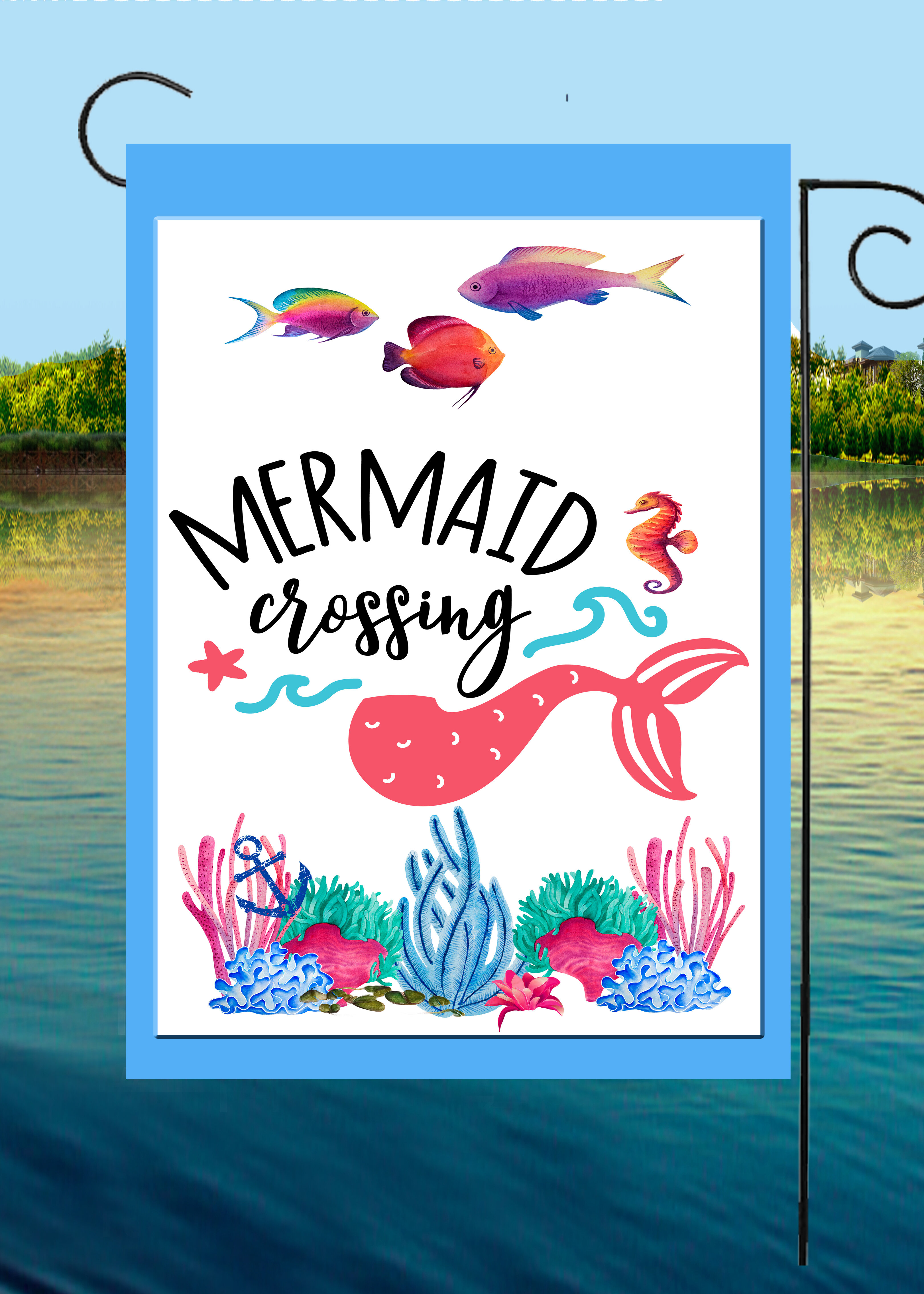 Flags Galore Decor And More Mermaid Crossing 2 Sided Polyester 18 X 12 In Garden Flag Wayfair
