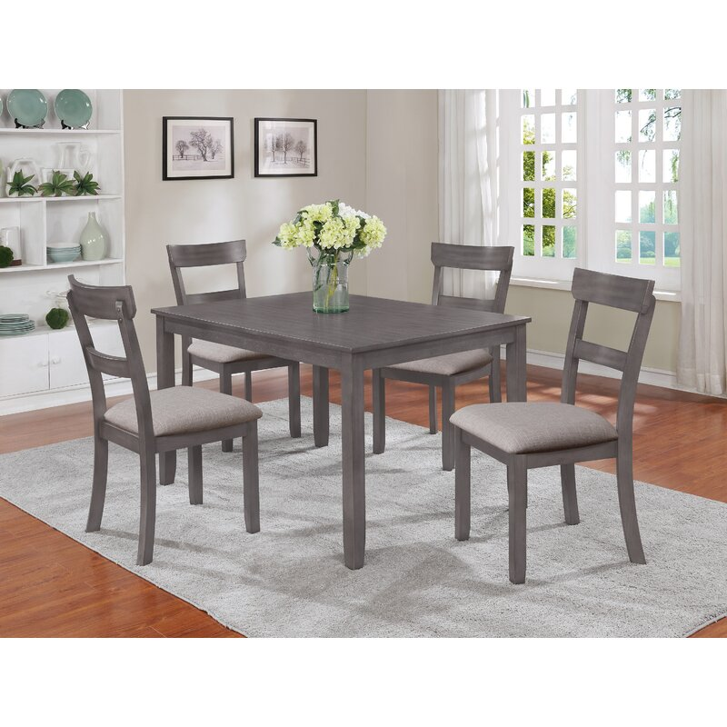 Charlton Home Wilmoth 5 Piece Solid Wood Dining Set Reviews Wayfair