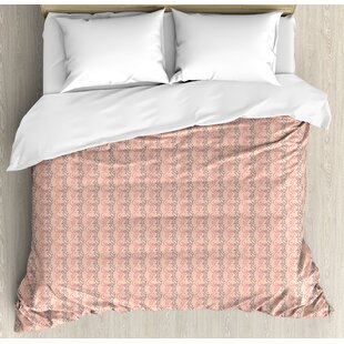 East Urban Home Vertical Abstract Flowers Design with Heart Shaped Leaves Romantic Print Duvet Set