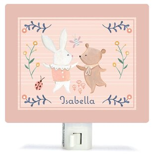 Oopsy Daisy Personalized Bunny and Bear Dancers Canvas Night Light