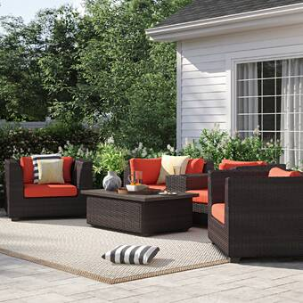 Wrought Studio Lecroy 7 Piece Sectional Set With Cushions Reviews Wayfair