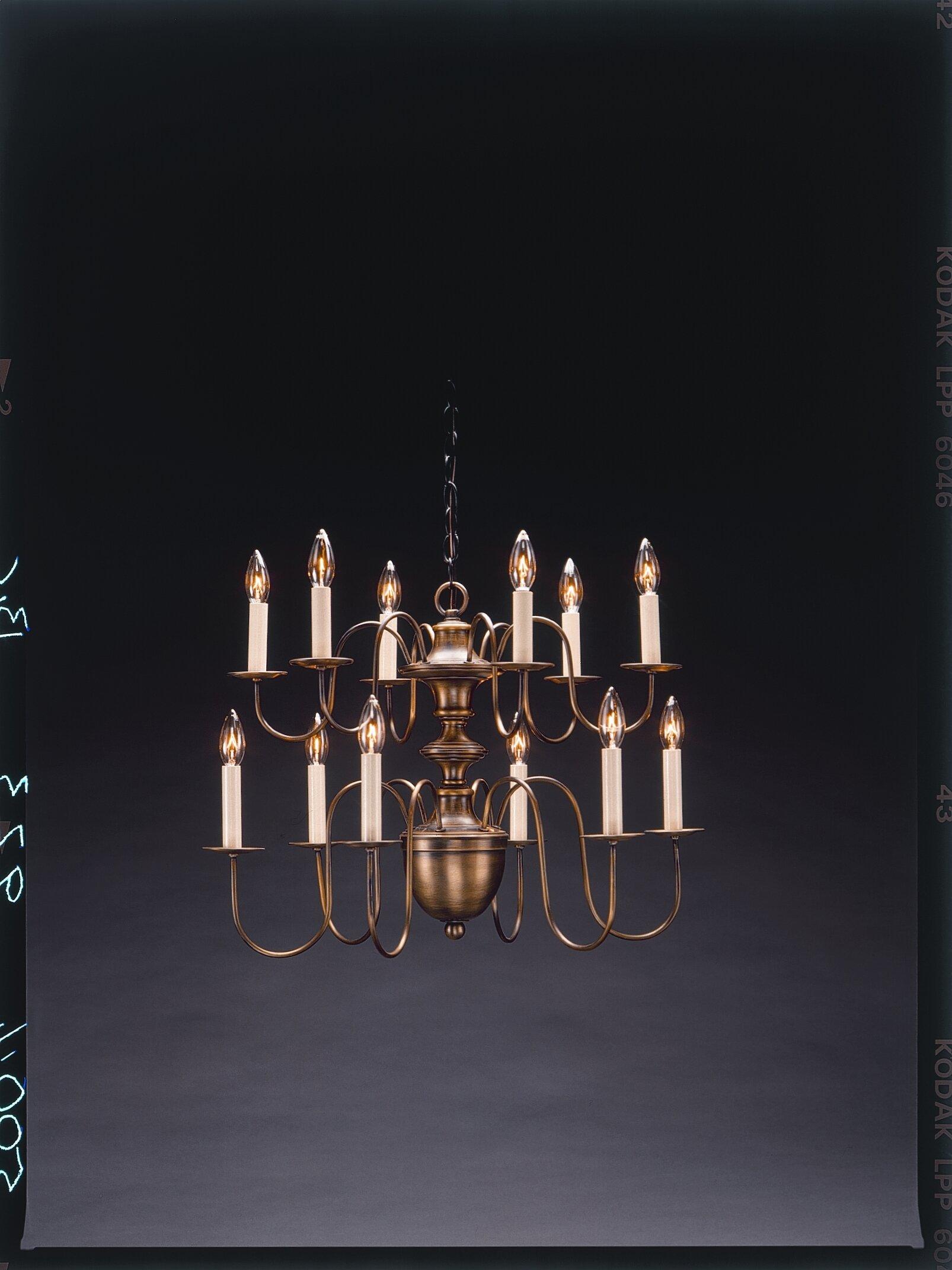 Northeast Lantern Sockets Hanging 2 Tier Half Ball S Arms 12 Light Candle Style Chandelier Wayfair