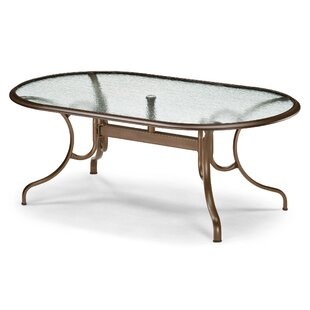 Glass Tables Deluxe Oval Ogee Rim Aluminum Dining Table