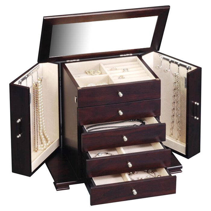 Three Posts Velvet Mirrored Jewelry Box & Reviews | Wayfair