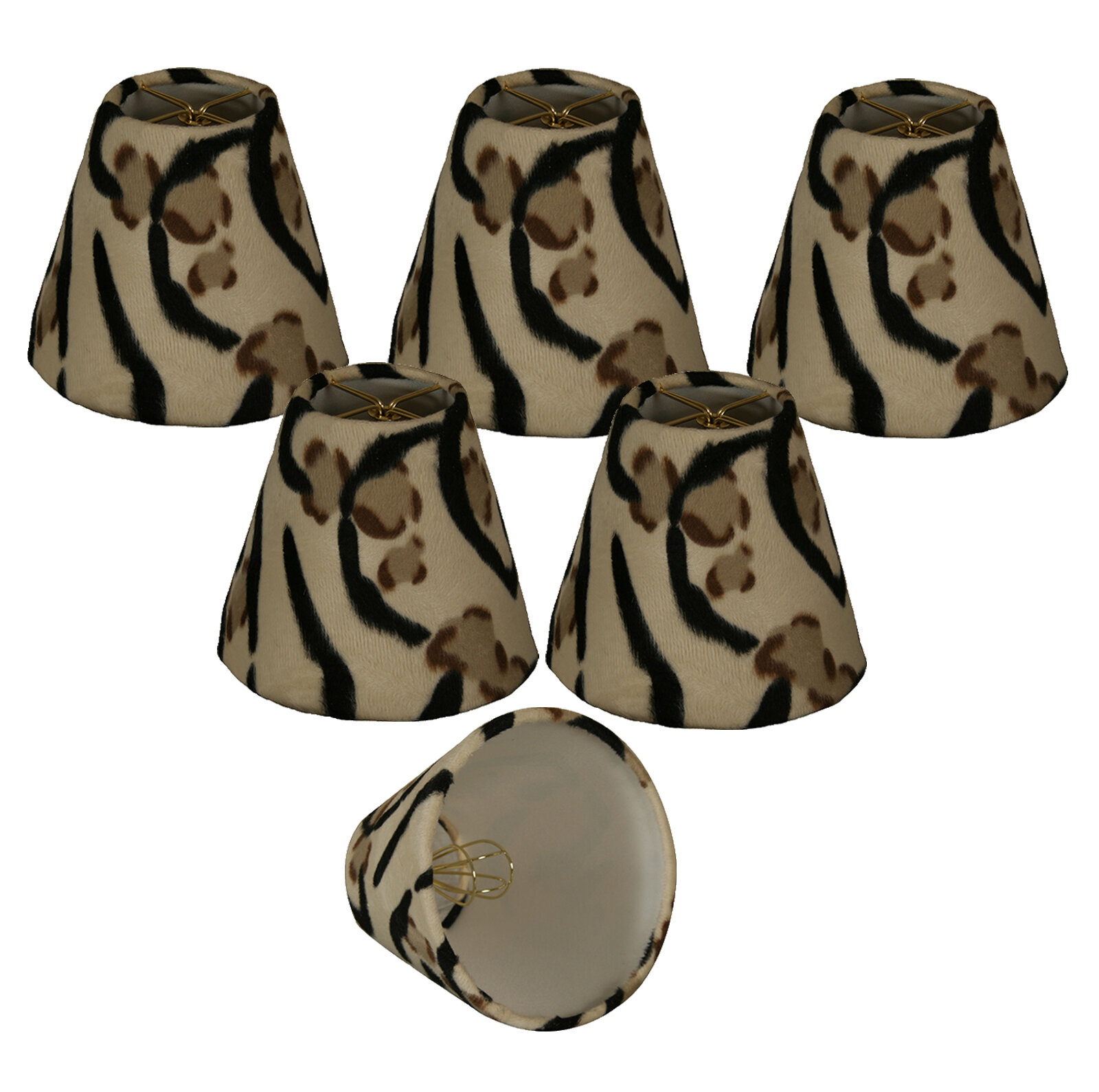 World Menagerie 4 5 H Faux Fur Empire Lamp Shade Clip On In Black Beige Wayfair