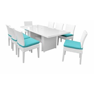 Miami 9 Piece Outdoor Patio Dining Set with Cushions