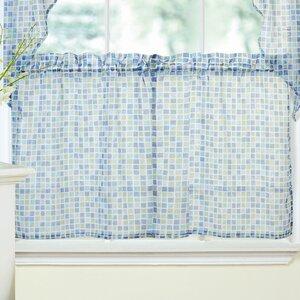 Tiles Block Print Sheer Voile Kitchen Tier Curtain (Set of 2)