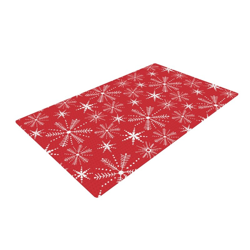 Julie Hamilton Snowflake Berry Holiday Red White Area Rug
