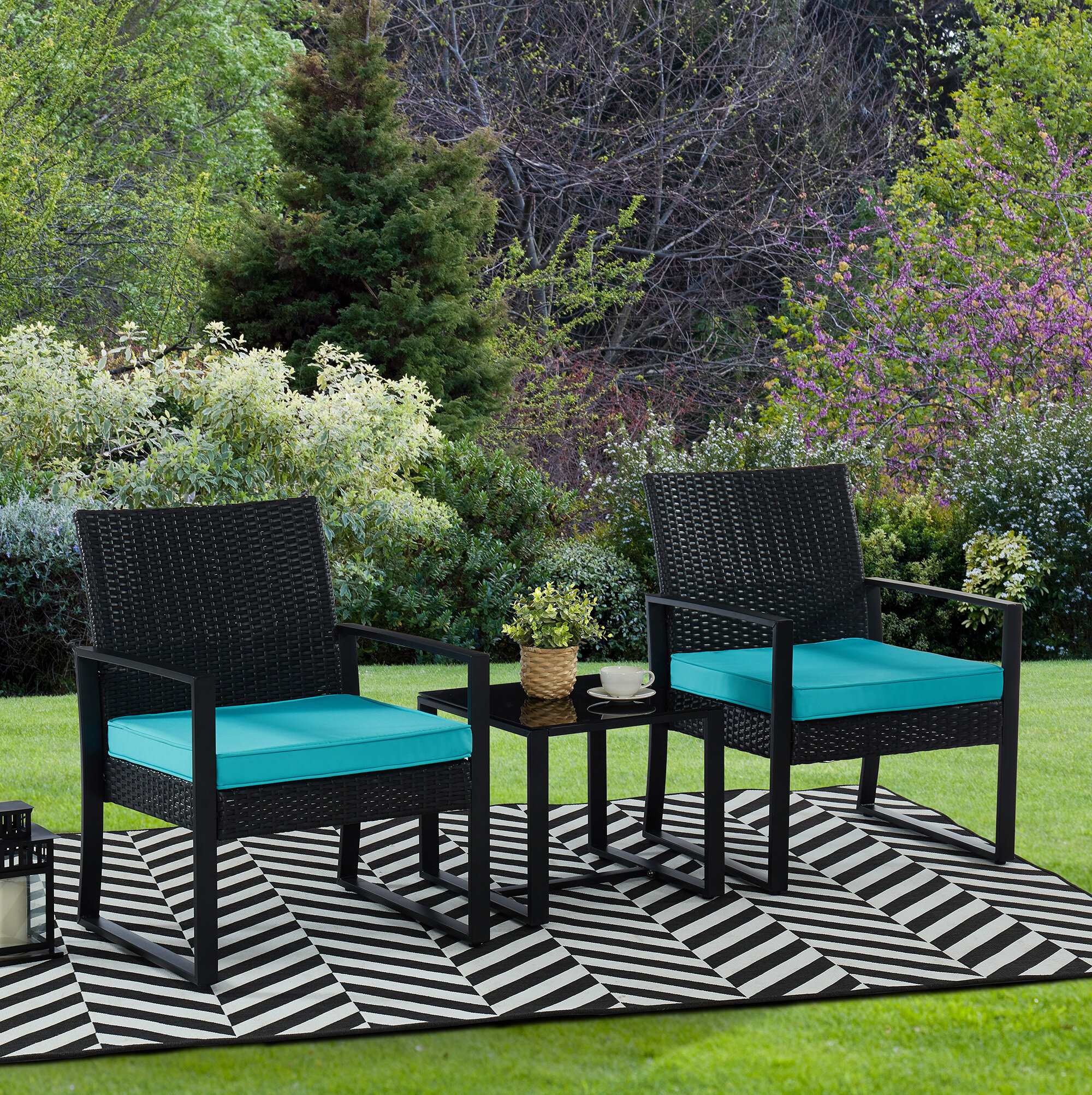Latitude Run Antrice 3 Piece Rattan Seating Group With Cushions Reviews Wayfair Ca