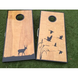 West Georgia Cornhole Deer and Ducks Cornhole Board with Toss Bags Set