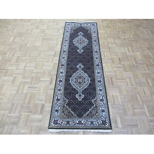 Top Reviews One-of-a-Kind Beaton Fine Tabriz Persian Hand-Knotted Black Area Rug By Isabelline