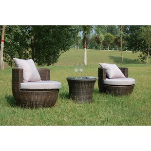 Wrought Studio Hepner 3 Piece Conversation Set with Cushions