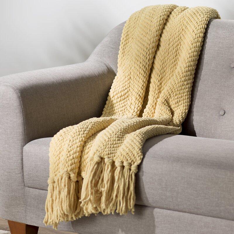 Three Posts Nader Tweed Knitted Throw Blanket Reviews Wayfair Extraordinary Pretty Throw Blankets