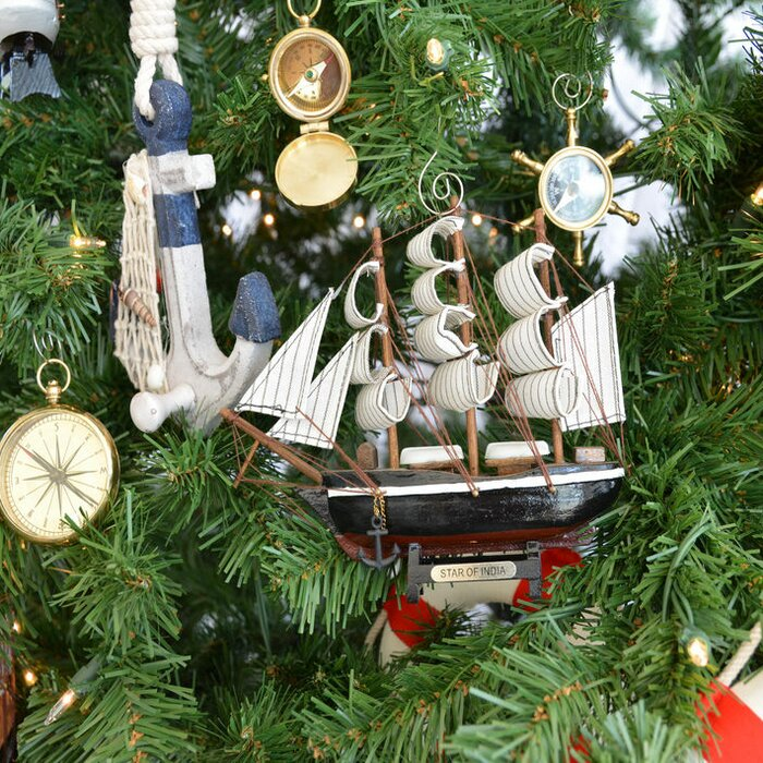 Christmas Tree In India.Wooden Star Of India Model Ship Christmas Tree Ornament