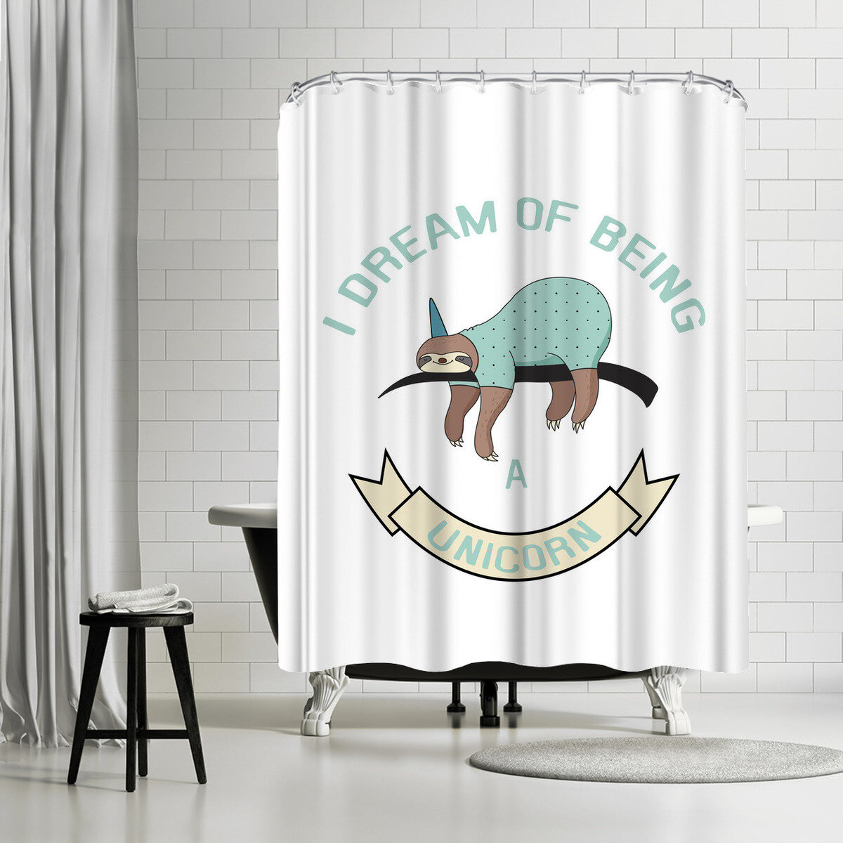 East Urban Home Lebens Art Sloth Unicorn Shower Curtain