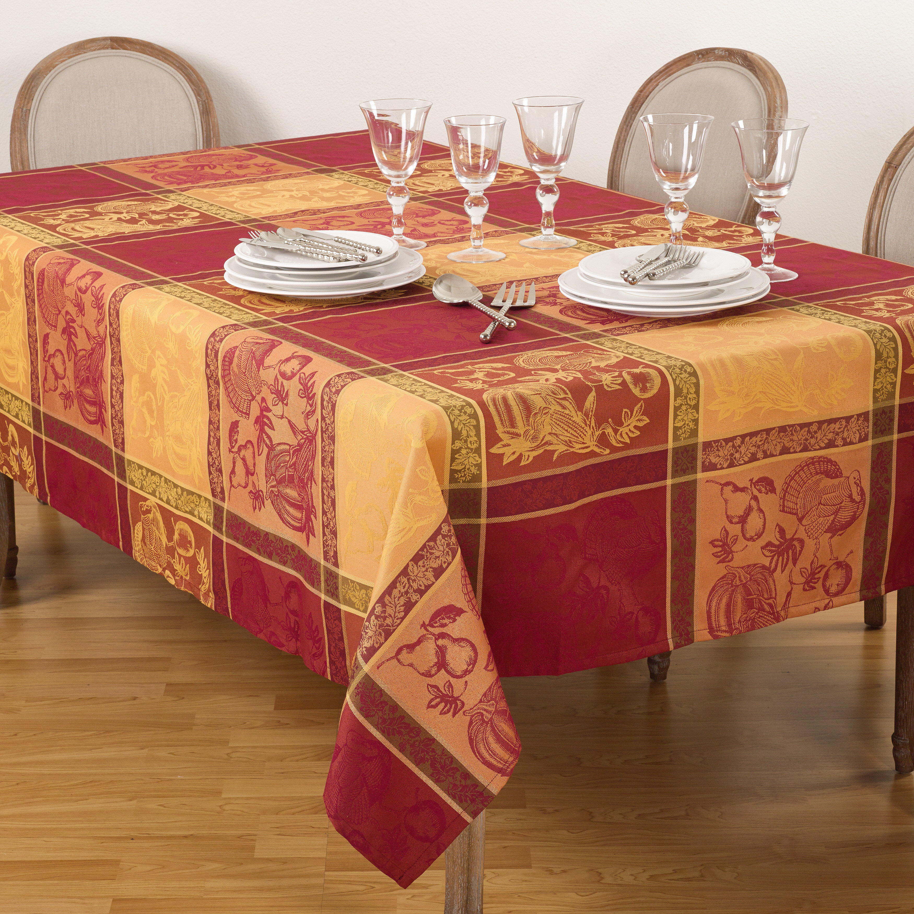 Thanksgiving Fall Autumn Design Jacquard Cotton Blend Tablecloth