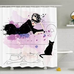 Fashion House Girl With Sunglasses Lying On Couch Cat Elegance In Home Theme With Stains Shower Curtain Set by Ambesonne Best Design