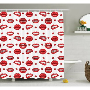 Comparison Various Lip Forms in Several Gestures Shower Curtain Set By Ambesonne