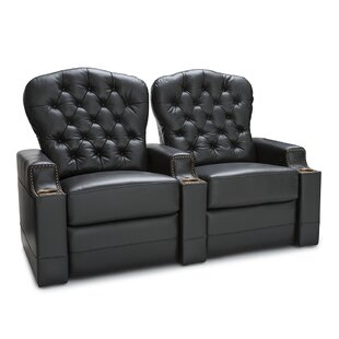 Leather Home Theater Row Seating (Row of 2) by Red Barrel Studio
