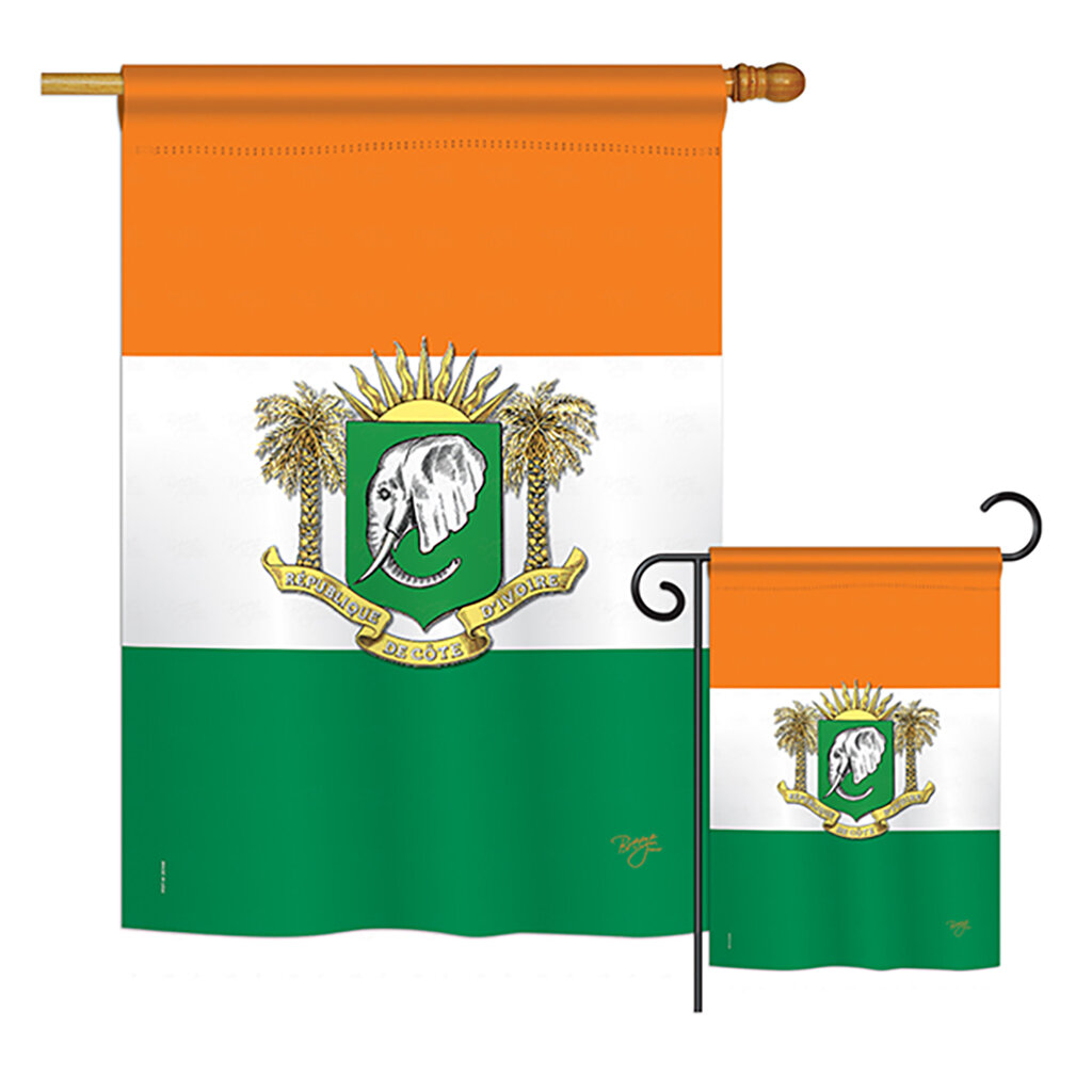 Breeze Decor 2 Piece Ivory Coast Of The World Nationality Impressions Decorative Vertical 2 Sided Polyester Flag Set Wayfair