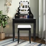 Aalivia Vanity Set with Stool and Mirror by Red Barrel Studio®