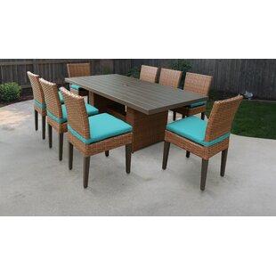 TK Classics Laguna 9 Piece Outdoor Patio Dining Set with Cushions