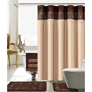 Sanches 18 Piece Embroidery Shower Curtain Set
