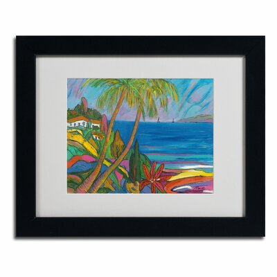 """Breakwater Bay 'Blue Sea with 2 Boats' Framed Painting Print on Canvas Size: 16"""" H x 20"""" W x 0.5"""" D, Frame Colour: Black"""