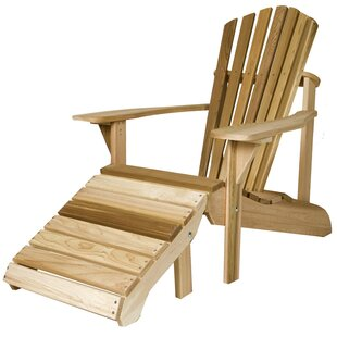 Highland Dunes Henriksen Solid Wood Adirondack Chair with Ottoman