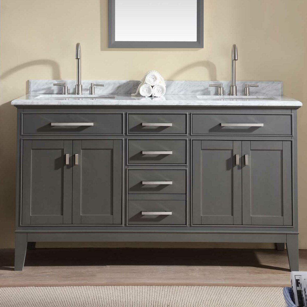 Ari Kitchen Bath Danny Double Bathroom Vanity Set Reviews - Bathroom vanities palm beach