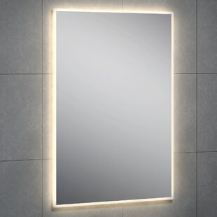 Reviews Hasting LED Round Corner Wall Mirror By Latitude Run