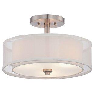 bensenville 3 light drumcylinder semi flush mount - Close To Ceiling Light Fixture