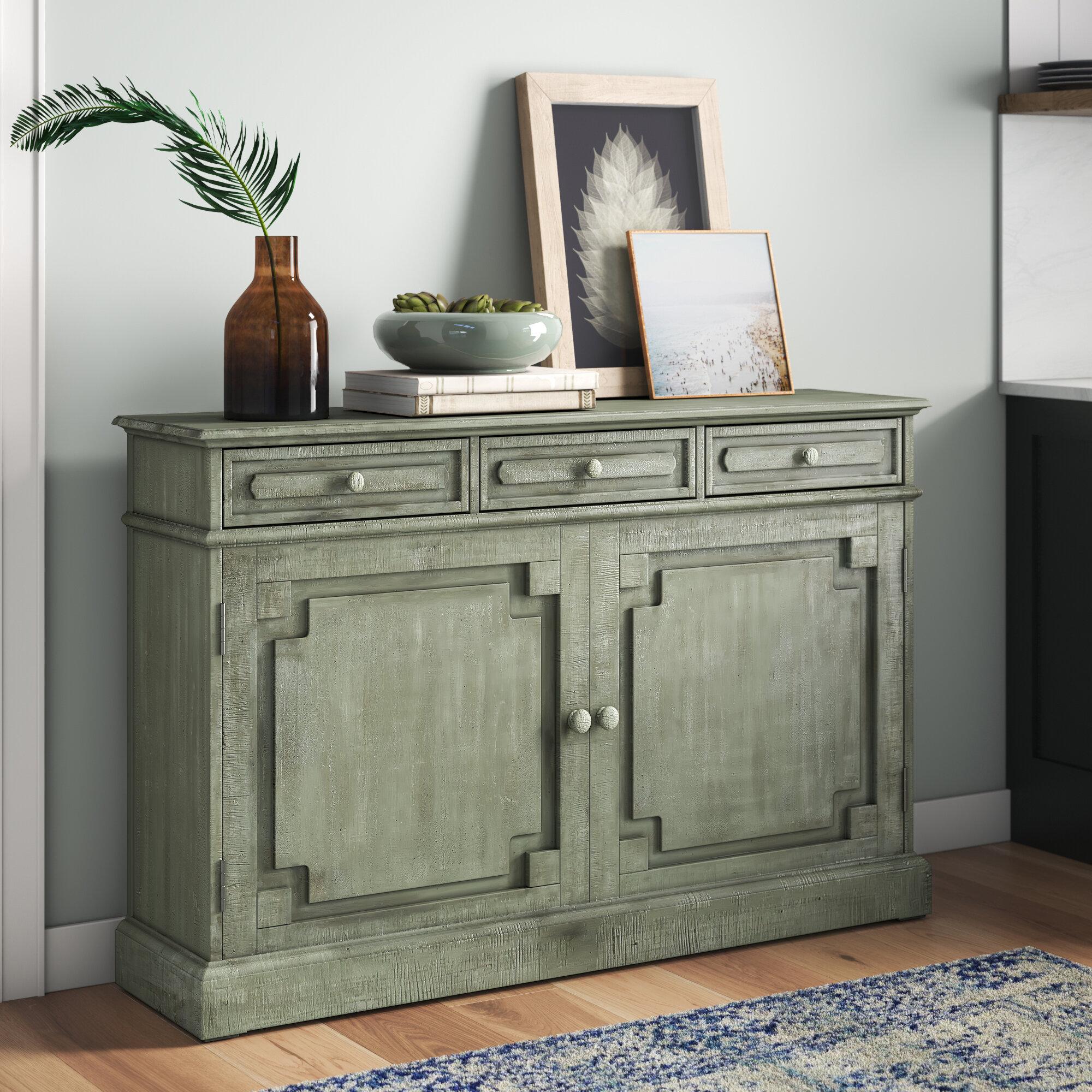 Mistana Adelbert 55 Wide 3 Drawer Pine Wood Sideboard Reviews Wayfair