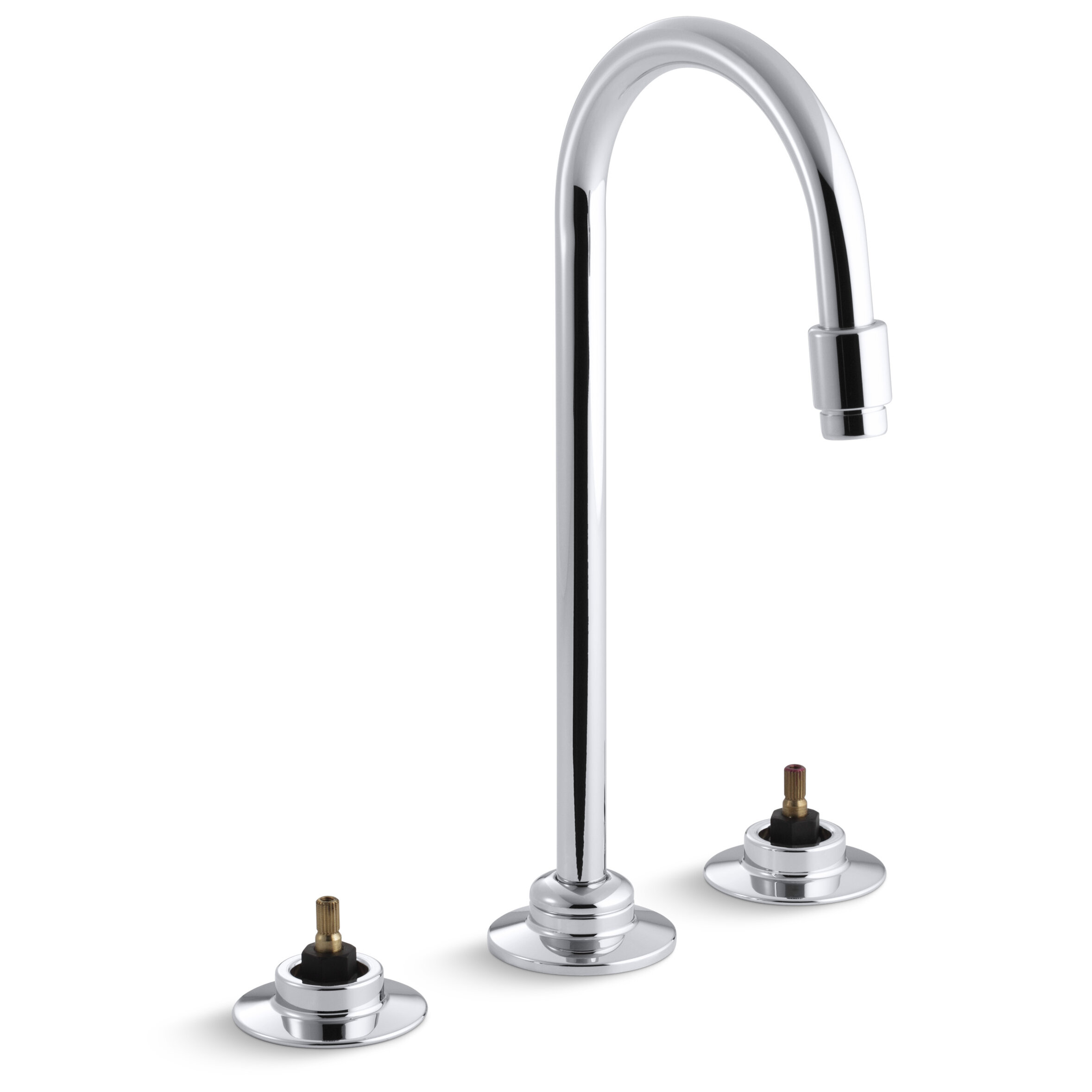 Kohler Triton Widespread Commercial Bathroom Sink Faucet With Flexible Connections And Gooseneck Spout Requires Handles Wayfair