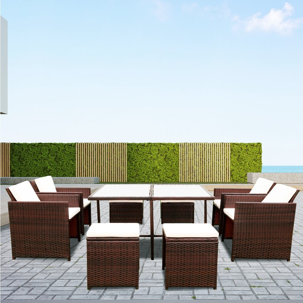 Johneric Wicker/Rattan 10   Person Seating Group with Cushions