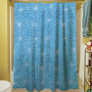 Funky Florals Daisy Sketch Single Shower Curtain