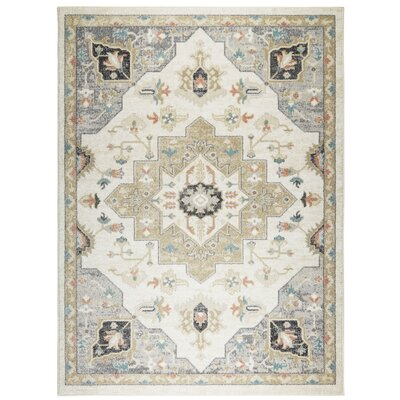 """Shabby Chic New weave Ivory/Green/Grey Area Rug Rug Size: Runner 2'6"""" x 7'2"""""""