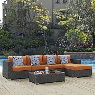 Tripp 5 Piece Rattan Sunbrella Sectional Set with Cushions