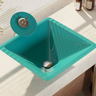 Best Reviews Glass Square Vessel Bathroom Sink with Faucet By René By Elkay