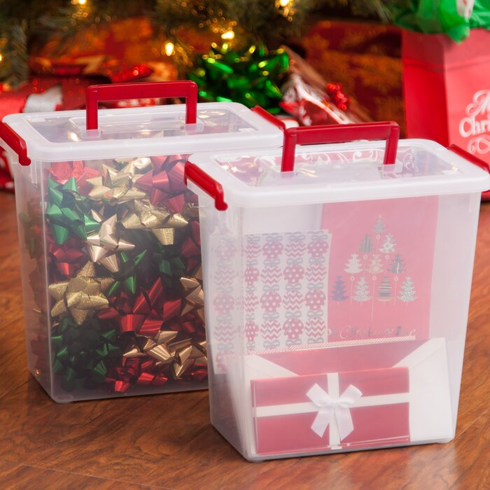 Bow Box With Handle Gift Wrap Storage