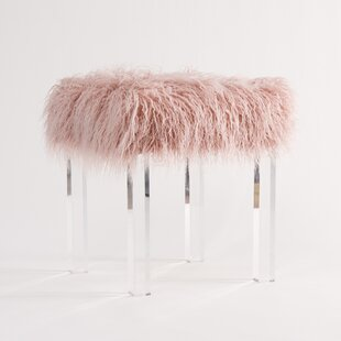 Big Save Cherie Lamb Faux Fur Acrylic Square Leg Stool By Willa Arlo Interiors