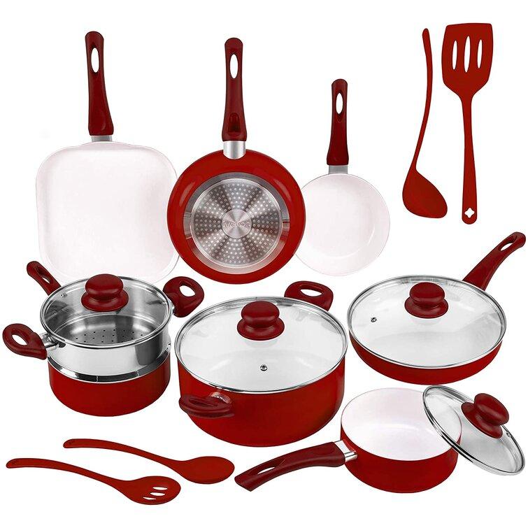 COOKWARE SET 16-Piece Red Ceramic NonStick Cooking Kitchen Non Stick Pans /& Pots