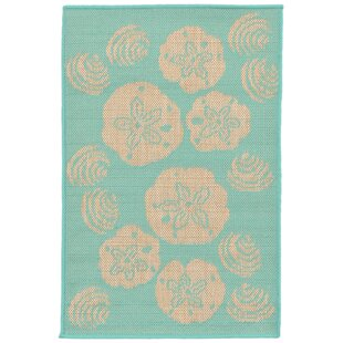 Clatterbuck Shell Toss Blue/Beige Indoor/Outdoor Area Rug