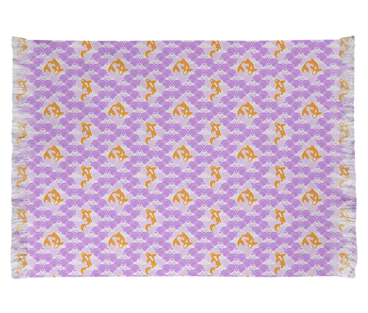 ArtVerse Katelyn Elizabeth Koi Fish And Waves Violet/Beige