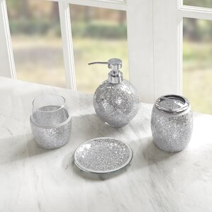 Silver Bathroom Accessories Youll Love Wayfair - Silver crackle glass bathroom accessories