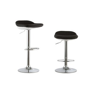 2 Piece Adjustable Height Swivel Bar Stool Set by Attraction Design Home