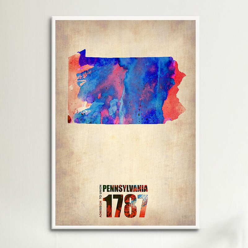 Icanvas Pennsylvania Watercolor Map Graphic Art On Wrapped Canvas Wayfair