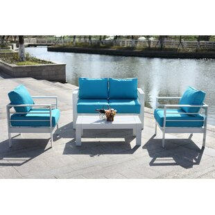 Find Michal 4 Piece Sofa Seating Group with Cushions Best reviews