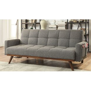 Shop Hawkinsville Tufted Futon Arm Sofa by Ebern Designs