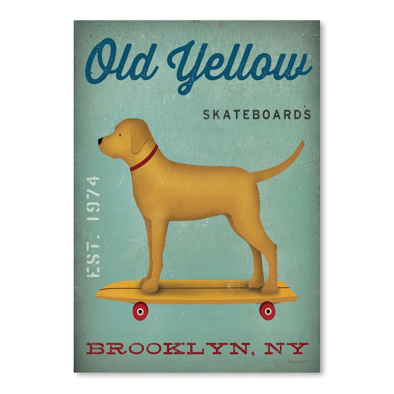 East Urban Home Golden Dog Skateboard Vintage Advertisement Wayfair